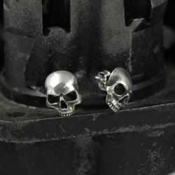 Skul - Feine Totenkopf Ohrstecker. Detailliert, real. Massiv, handgefertigt 935 Silber. Silberschmuck Bikerschmuck