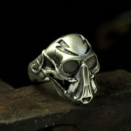 Blitzkrieger - exceptional skull ring with mask with mask breathing mask - Biker Ring Biker Jewelry Rocker Jewelry