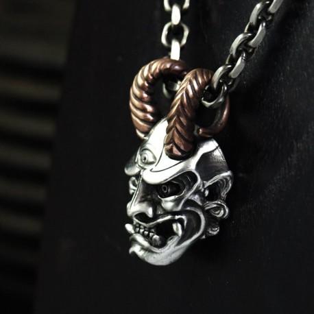 Oni Anhänger - Japanischer Dämon - Groß, massiv, handgefertigt Silber. Hannya Maske - Bikeranhänger Bikerschmuck Rocker Schmuck