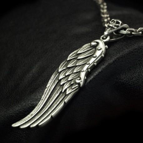 Freiheit - Ausgefallener Flügelanhänger. Groß, massiv, handgefertigt 935 Silber. Biker Anhänger Bikerschmuck Rocker Schmuck