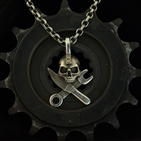 Kulturpirat - pendant for the custom bike(r). Solid, handmade silver. Skull and Crossbones Pendant Biker Pendant Biker Jewelry