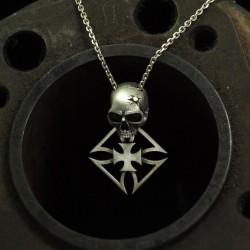 Outlaw - Totenkopfkette Gold Kopfschuss, Eiserne Kreuz. Massiv, Silber. Totenkopfanhänger Bikerschmuck Rocker Schmuck