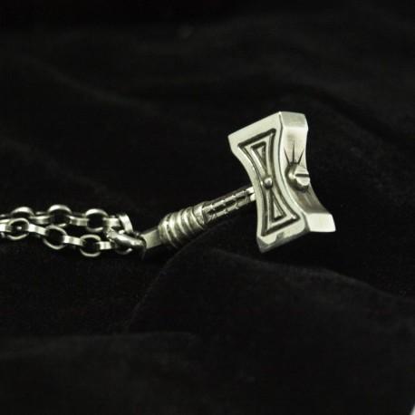 Der Hammer - Mjölnir feiner Silberanhänger. Detailliert, massiv, handgefertigt Silber. Thors Hammer Bikerschmuck Rocker Schmuck