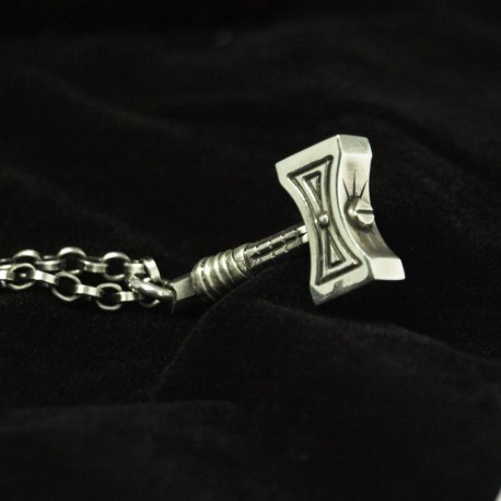 The hammer - Mjölnir fine silver pendant. Detailed, solid, handmade silver. Thors Hammer Biker Jewelry Rocker Jewelry