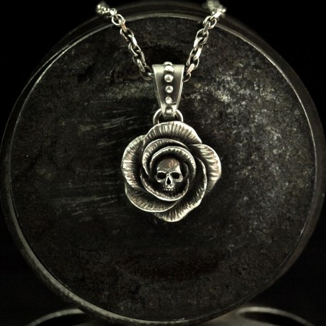 Rose - Necklace pendant Rose with skull. Solid, handmade 935 Silver - Rose pendant Biker Jewelry Rocker Jewelry