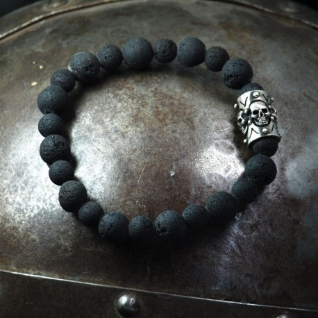 Lava Bracelet - Lava balls with solid element of 4 small skulls. 935 silver. Skull Bracelet, Biker Jewelry