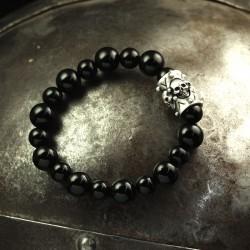 Totenkopf Armband Onyx (rund)