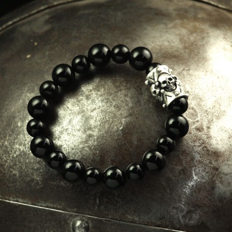 Onyx Bracelet - Onyx balls with solid element of 4 small skulls. 935 silver. Skull Bracelet, Biker Jewelry