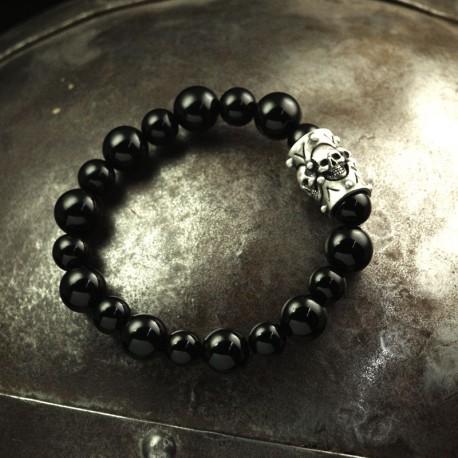 Onyx Armband - Onyxkugeln mit massivem Element mit 4 kleinen Totenköpfen. 935 Silber. Totenkopfarmband Bikerschmuck
