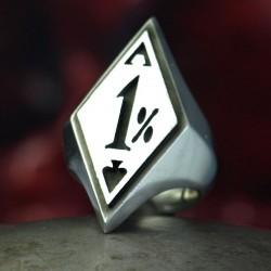 1%er Ring - Silber Einprozenter Ring für echte Rocker. Biker Ring, Bikerschmuck, Rocker Schmuck, massiv, handgefertigt