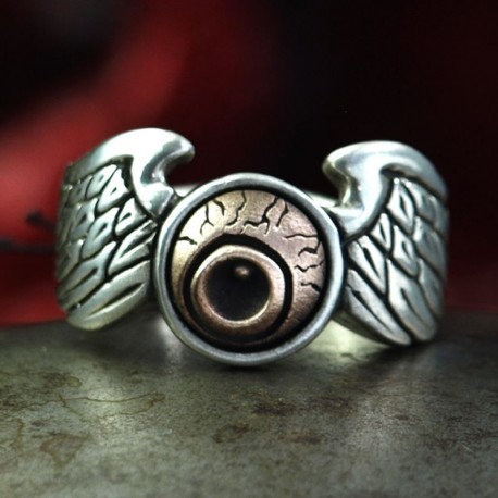 Biker Ring Von Dutch Logo - symbol for Custom Paint & Pinstriping of the biker scene. Ring wings, biker ring, biker jewelry