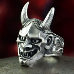 Hannya Ring, Hannya Mask - Talisman for her wearer. Silver biker ring with horns, big, massive, handmade, biker jewelry