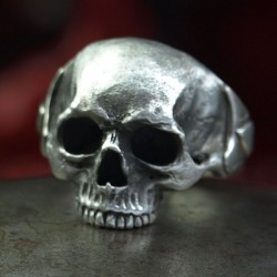 Ace of Spades Ring - Skull Ring without lower jaw with Ace of Spades. Detailed, solid, Silver. Biker Ring, Biker Jewelry, Rocker
