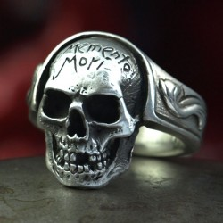 Memento Mori Ring - Small skull ring with lettering.  Silver Ring, Biker Rings, Biker Jewelry, Skull