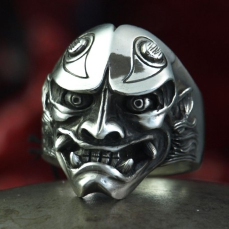 Oni Ring - Japanese Demon - Big, solid, handmade 935 silver. Hannya Mask - Biker Ring Biker Jewelry Rocker Jewelry