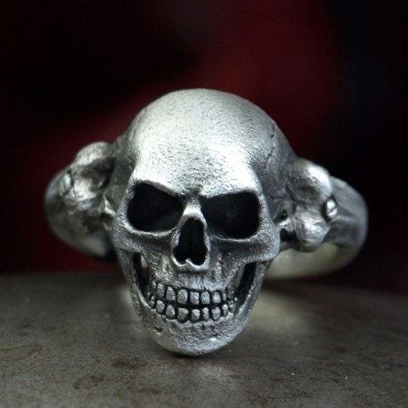 Single - Fine, anatomically correct Skull Ring. Decently striking. Silver Biker Ring as biker jewelry and rocker jewelry