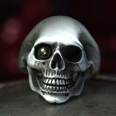 Classic Silver Skull Ring - anatomically correct, with gold bullett in eye! Biker Ring, Biker Jewelry, Rocker Jewelry