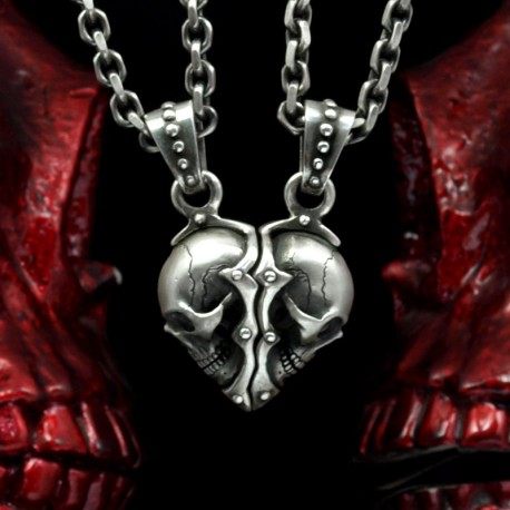 Forever - Exclusive skull couple pendant. Solid, striking. Handmade 935 silver. Biker Pendant Biker Jewelry