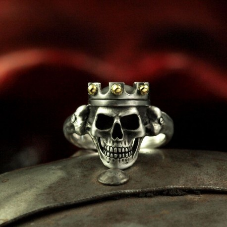 Prince - Small skull ring with crown. Anatomically correct. Silver Biker Ring as Biker Jewelry and Rocker Jewelery