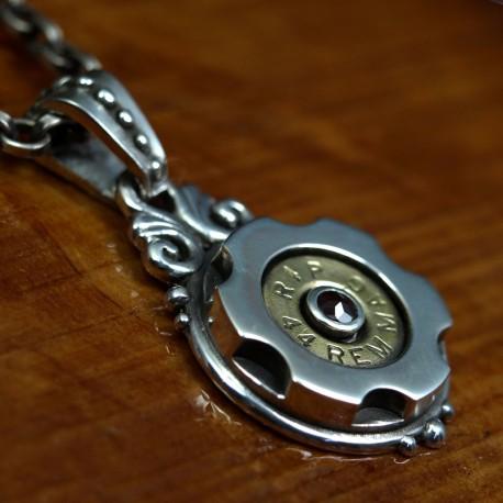 SixShooter pendant, silver biker pendant, rocker pendant, handmade, biker jewelry for men