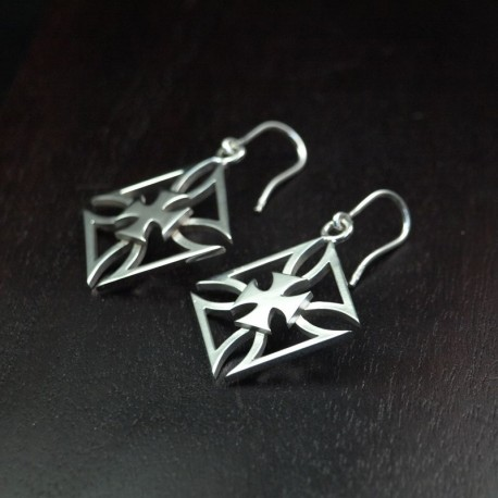 Earring - Hanging Earrings - Silver - Iron Cross