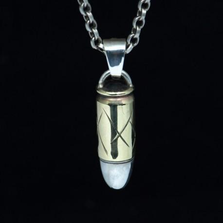 Silver Pendant, Bullet Pendant - Biker Jewellery - Silver Bullet